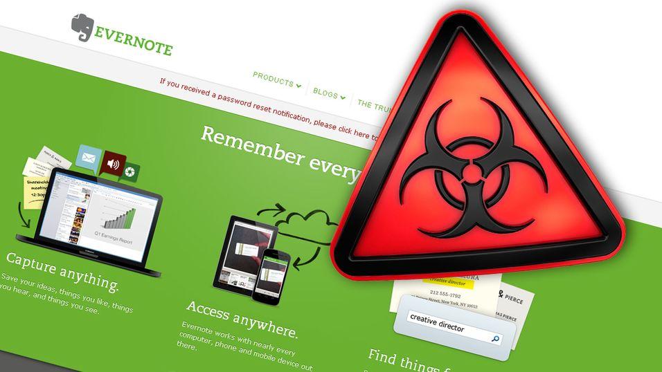 Evernote ble utsatt for et angrep i helgen, og nå tar tjenesten forholdsregler.
