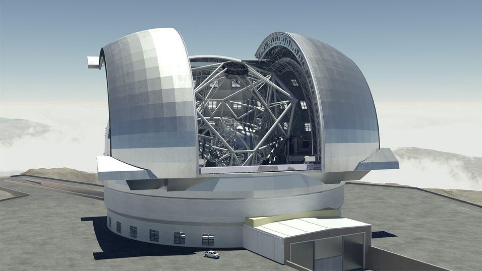 Konsepttegning av European Extremely Large Telescope (E-ELT). Hvis det var noen tvil: Ja, dette blir enormt.