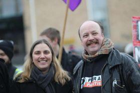 Piratpartiets leder, Geir Aaslid, med Anna Troberg, leder av Piratpartiet i Sverige.