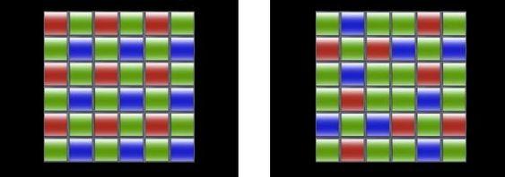 Vanlig Bayer-mønster til venstre, X-Trans CMOS-mønster til høyre.