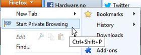 I Firefox klikker du her for å starte privat surfing.