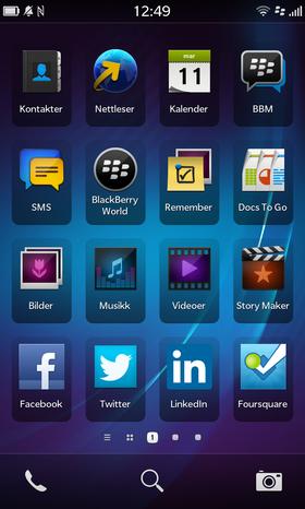 Slik ser applikasjonsmenyen i BlackBerry Z10 ut.