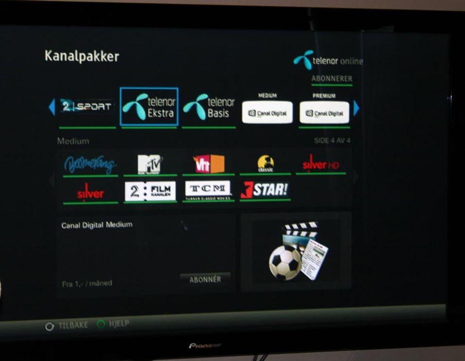 Telenors IPTV-skjermbilde.