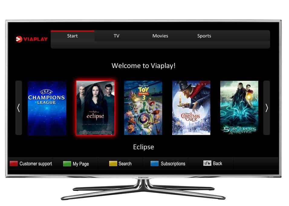 Slik vil Samsung-tv-enes app med Viaplay se ut.