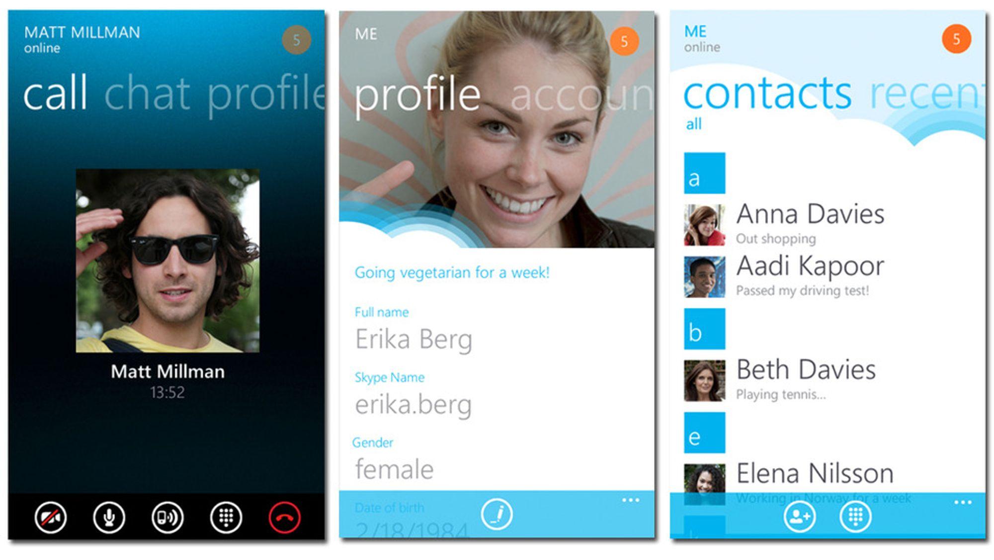 Slik ser brukergrensesnittet ut for Skype i Windows 8.