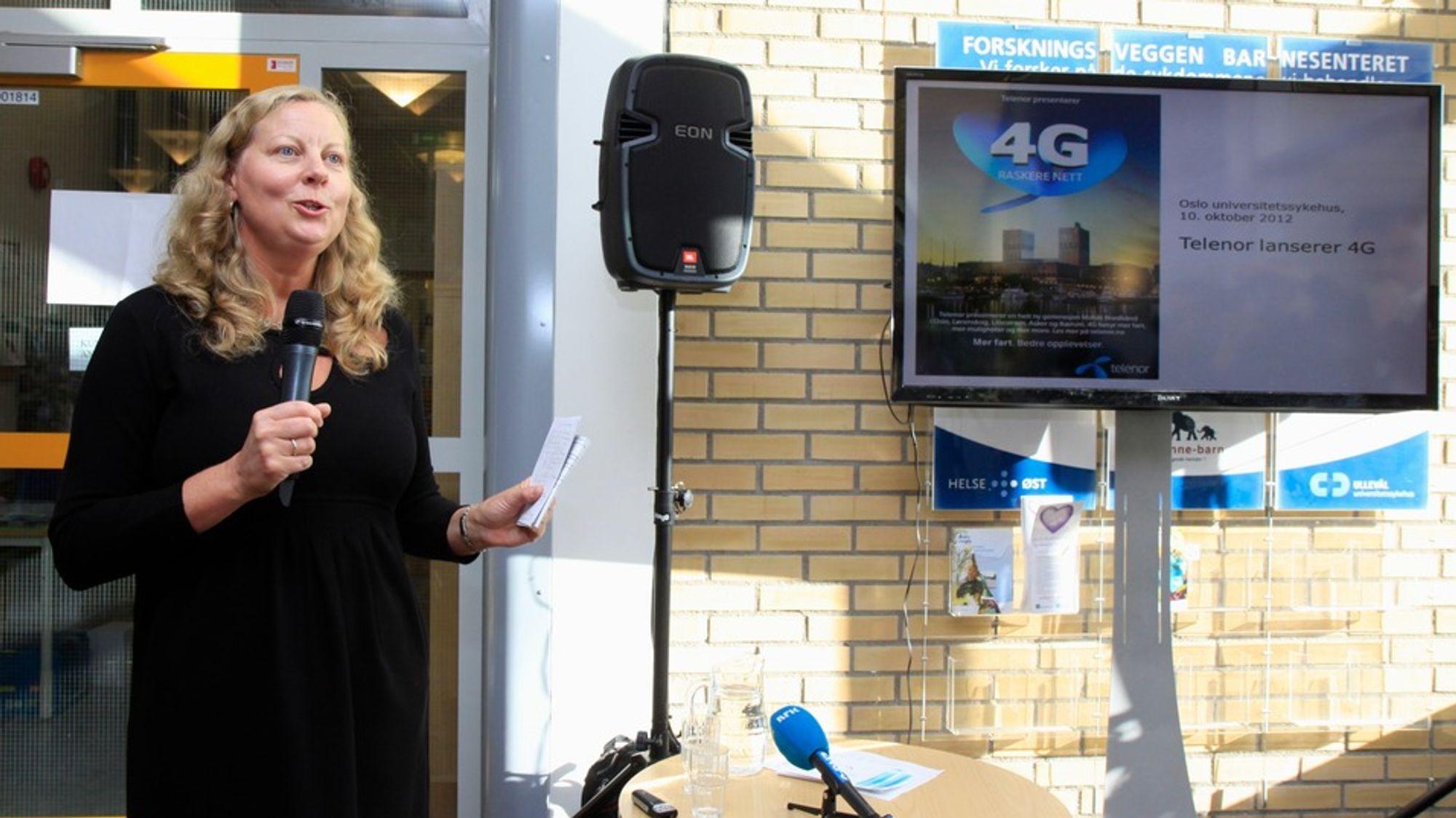Telenor Norge-sjef Berit Svendsen under lanseringen av 4G høsten 2012. Nå venter hun i stigende utålmodighet på at myndighetene skal tildele 800 MHz-båndet slik at selskapet kan levere 4G i større områder av landet.