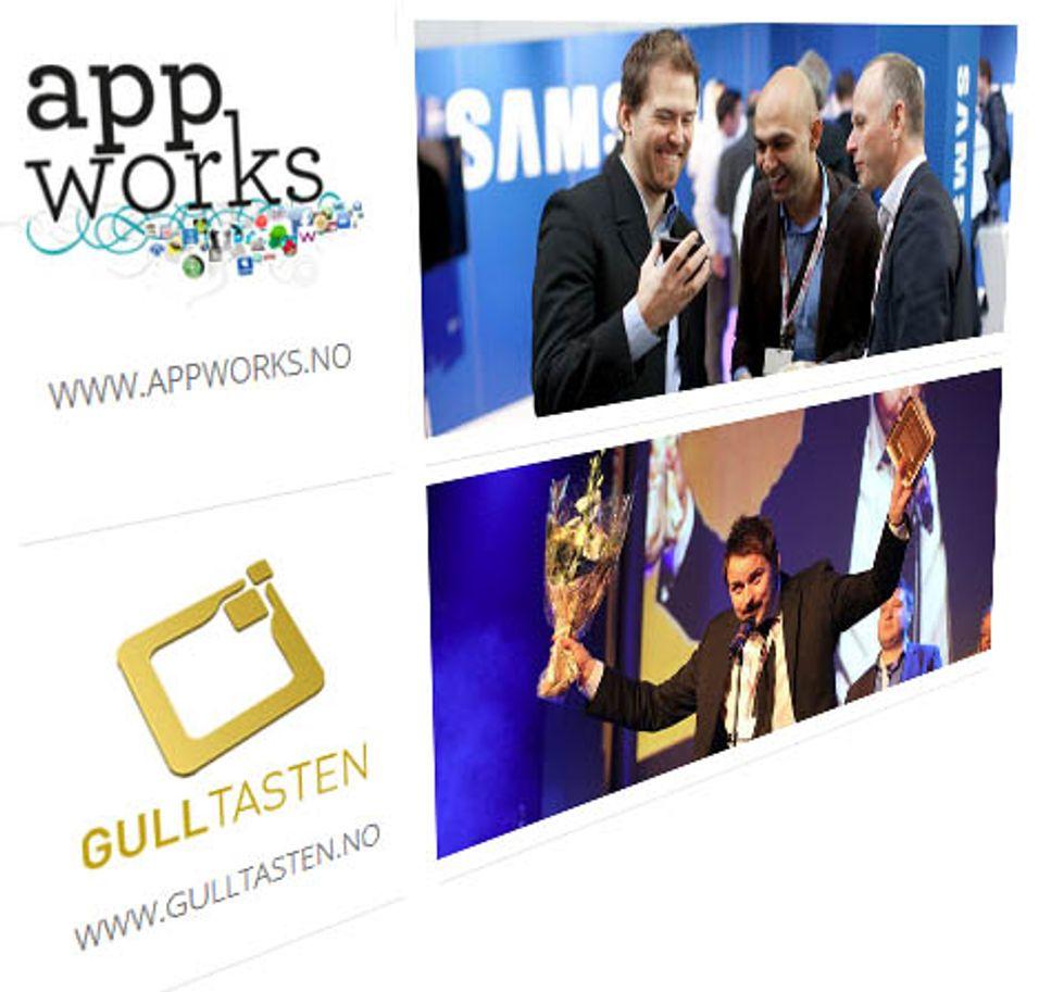 Bransjearrangementene Appworks og Gulltasten arrangeres sammen 8. november på Fornebu i Bærum.