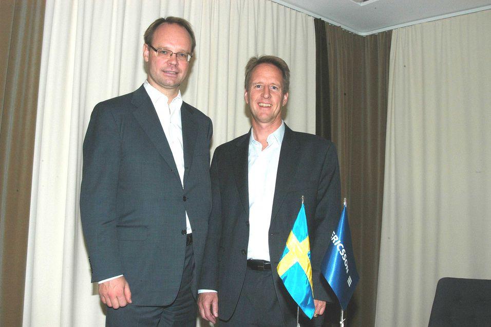 LTE-sjef Thomas Norén og CTO Håkan Eriksson i det rommet hos Ericsson der LTE på mange måter så dagens lys. (Foto: Arne Joramo)