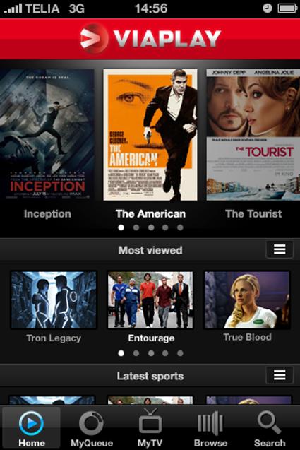 Slik ser grensesnittet til Viaplay ut på Iphone. Viaplay-applikasjonen finnes også for Android.