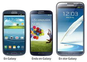 Tre Galaxy-varianter fra Samsung. De er svært like hverandre, om enn ikke fullt så like som Apples telefoner.