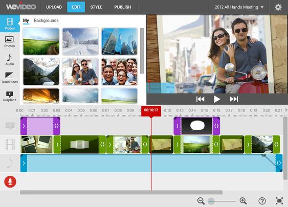 Den halv-avanserte tidslinja i WeVideo er en av tre mulige tidslinjevalg. .