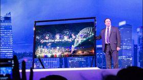 Samsung viste fram sin 85 tommer store 4KTV på CES-messen i Las Vegas i januar.