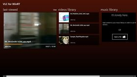 VLC for Windows 8, startskjerm.