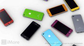 Konseptskisser fra designeren John Anastasiadis som viser hvordan en fargerik iPhone-billigmodell kan komme til å se ut.