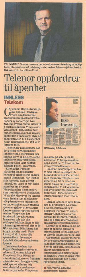 Dette leserinnlegget i Dagens næringsliv, signert konsernsjef Jon Fredrik Baksaas i Telenor, mener Telenor du ikke har forutsetninger for å forstå (faksimile).