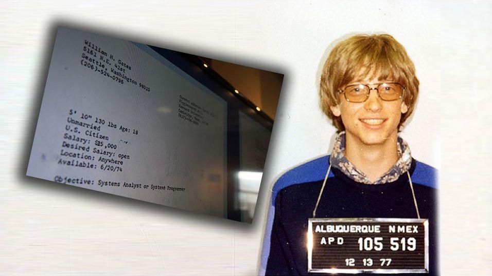 Bill Gates' CV fra 1974 viser Microsofts spede begynnelse. Bildet av selve Bill er fra 1977, da han ble arrestert for en trafikkforseelse.
