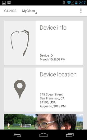 Google MyGlass for Android brukes sammen med Google Glass.