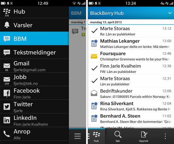 """BlackBerry Hub samler alle kontoene dine på ett sted. Skjermbildet til venstre får du opp ved å sveipe med fingeren opp og så til høyre på skjermen. Velger du """"Hub"""" får du opp en samleinnboks med SMS-er, e-post, kalendervarslinger og andre varslinger. ."""