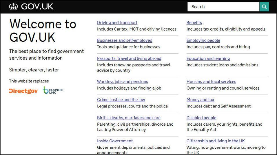 Storbritannias nye portal for offentlig informasjon og tjenester, Gov.uk.