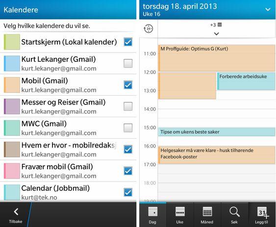 Kalenderfunksjonen på BlackBerry Z10 er ryddig, og du kan enkelt velge hvilke kalendere du vil vise.