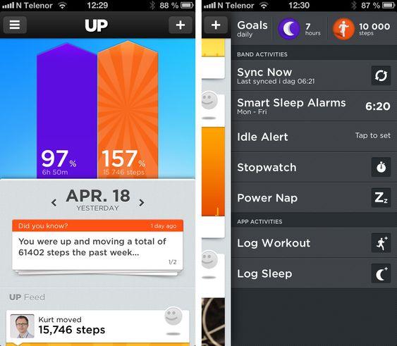 Til venstre: Du får for hver dag vite om du har nådd målene dine for hvor både søvn og aktivitet.