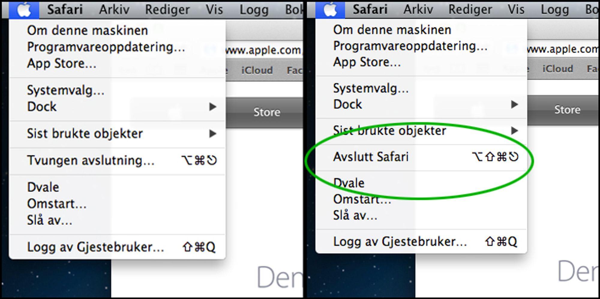 hvordan avslutte et program mac