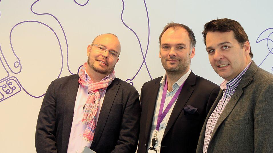 Fra venstre: Christian Borge, bedriftsrådgiver hos NetCom Bedriftssenter Skøyen, Lars Mørch, leder for NetCom Bedriftssenter Skøyen, samt Kristian Renaas, salgsdirektør i TeliaSonera Norge.
