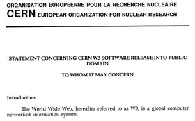 Begynnelsen på dokumentet som slapp WWW fri.