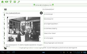 Utsnitt fra søketreff i appen GeoKulTur, som lister opp historiske steder i din nærhet og viser dem i kart.