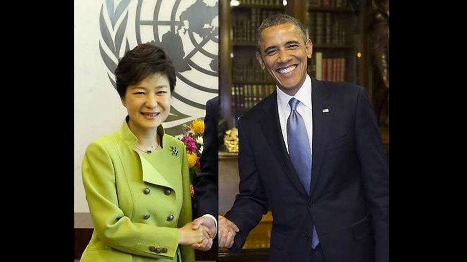 Ifølge den sørkoreanske avisen Yonhap var dette et bilde av de to presidentene som håndhilset.