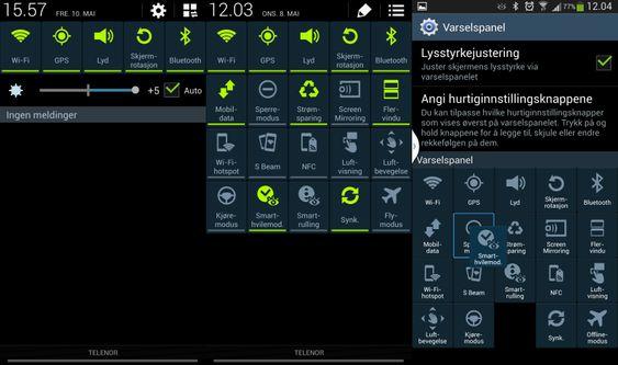 Du kan utvide nedtrekksmenyen til å vise en rekke valg - blant annet kan du skru av og på muligheten for å dele skjermen mellom apper her. Hvis du vil kan du også tilpasse rekkefølgen på snarveiene i den utvidede menyen.