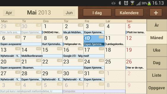Samsungs kalender heter S-planner. Her kan du synkronisere inn kalenderoppføringer fra flere ulike tjenester.