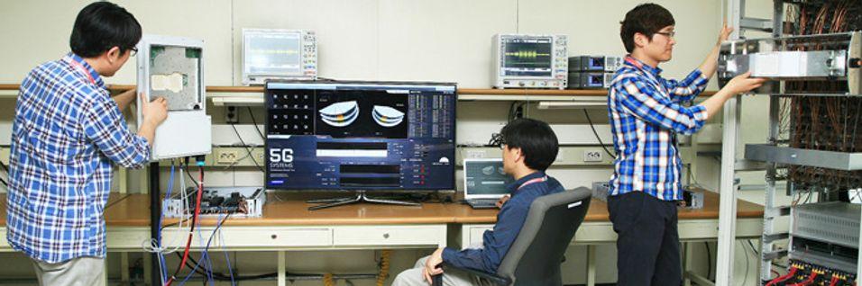 Samsung er ett av selskapene som satser tungt på utvikling av ny teknologi for 5G. Her et bilde fra deres 5G-lab der gigabit-hastigheter jaktes.