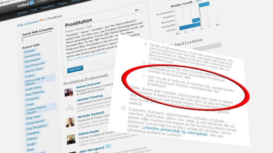 Selv om prostitusjon er lovlig der du bor, er det fremdeles forbudt på LinkedIn.
