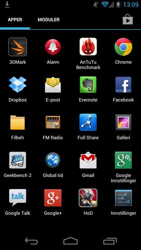 ZTE har gjort få endringer i Android-menyene.