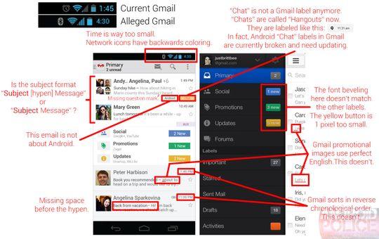 Nettsiden Android Police påpeker tilsynelatende feil og motsigelser i Googles påståtte nye grensesnitt for Gmail. Klikk på bildet for stor versjon.