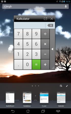 Noen apper kan flyte fritt oppå andre apper på skjermen, og skaleres.