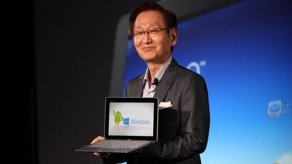 Jonney Shih, toppsjef i Asus, viser frem Transformer Book Trio