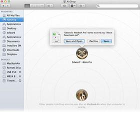 Slik ser Airdrop ut på en Mac.