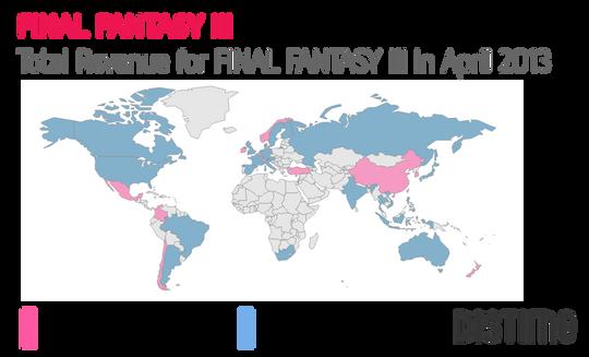 Illustrasjonen viser innteksfordelingen i de ulike landene for spillet Final Fantasy III. De landene der Android-plattformen genererer størst inntekter, er vist i blått.