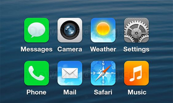 Apples kjente ikoner, uten skinnende overflate.