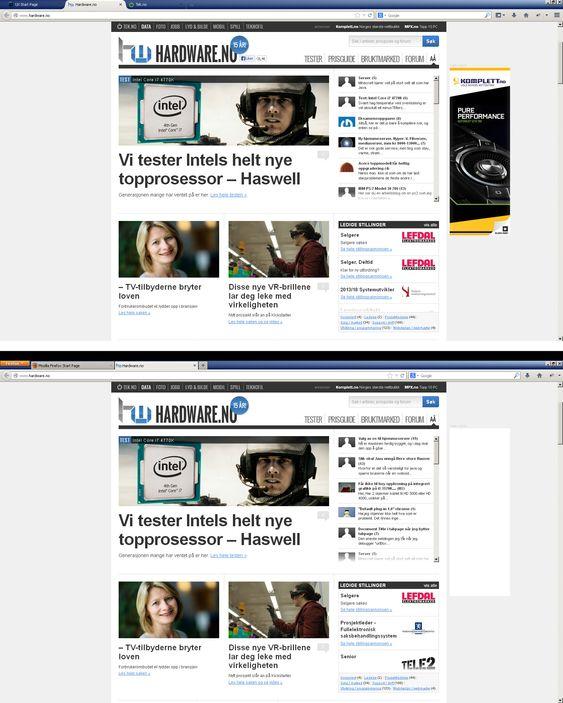 Firefox 21 vs. Firefox 25.