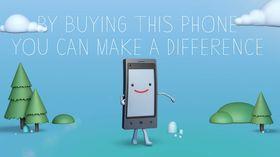 Så glad kan en telefon uten dårlig samvittighet se ut. .