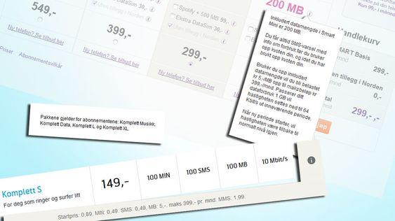 Hos NetCom og Telenor er prisen per megabyte fortsatt på fem kroner med enkelte abonnement.