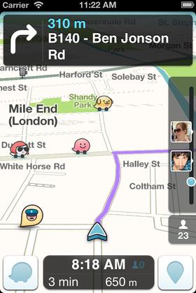 Navigasjonsappen Waze gir deg veiinformasjon fra andre brukere.