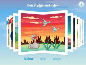 Slik er menyen i Propells iPad-app. Her finner du barnebøker, leker og sanger.