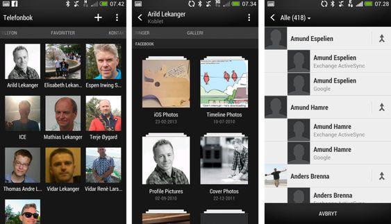 Kontaktregisteret på HTC One kombinerer informasjon fra flere ulike kontoer, og kan blant annet vise deg bilder fra kontaktpersonens Facebook-album.