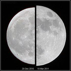 """Supermånen i mars 2011 sammenlignet med den """"vanlige"""" månen i desember 2010."""