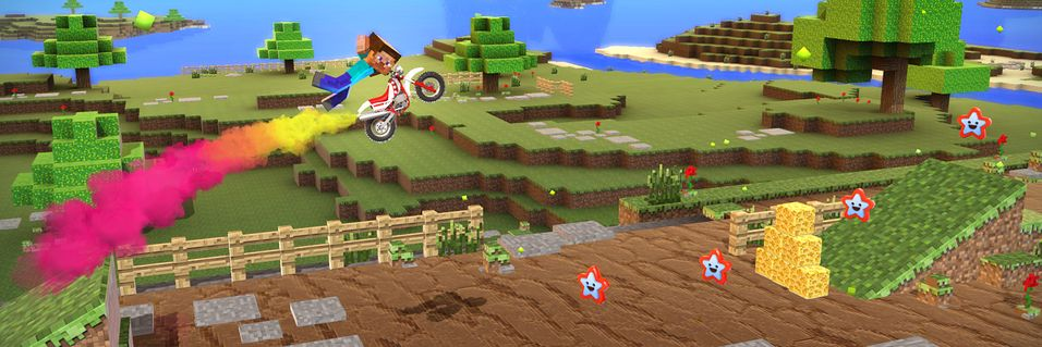 Motorsykkelaction i Minecraft-verden