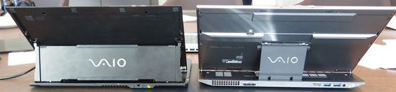 Gammel Duo til venstre. Nye Duo til høyre har flere kontakter bak og tynnere skjermfeste.